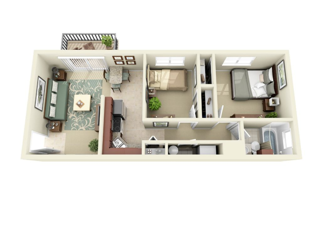 2 bedroom 1 bath apartment 687 square feet in size.