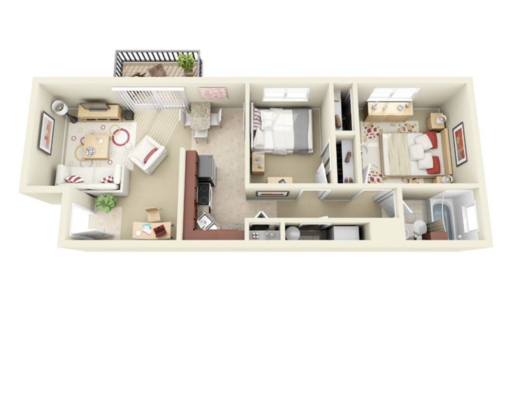 2 bedroom 1 bath apartment 735 square feet in size.