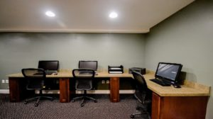 Business center has computers for use