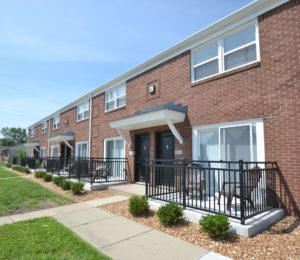 Front entrances of Indiana Townhomes
