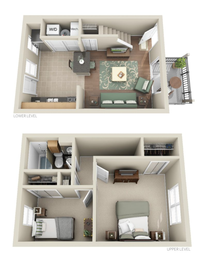 2 bed 1 bath apartment with 737 Square Feet of Space